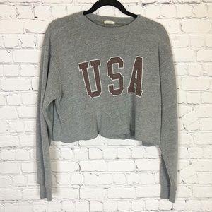 John Galt Brandy Melville Gray USA Crop Sweatshirt